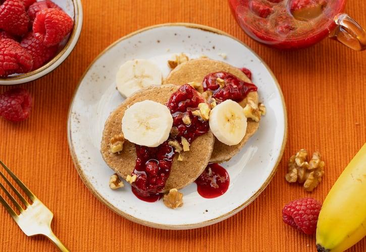 Vegan Banana Oat Walnut Pancakes