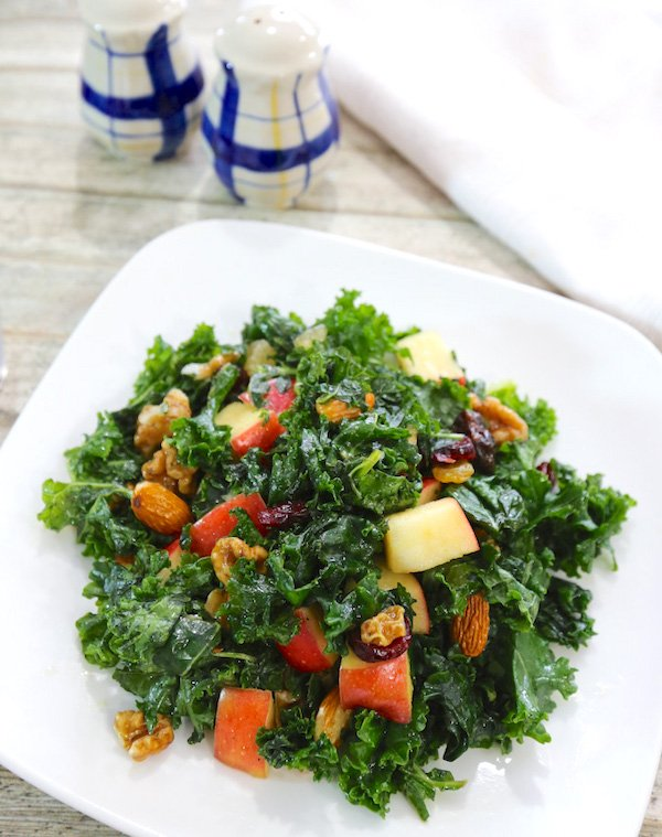 Raw Kale with Fruits and Nuts