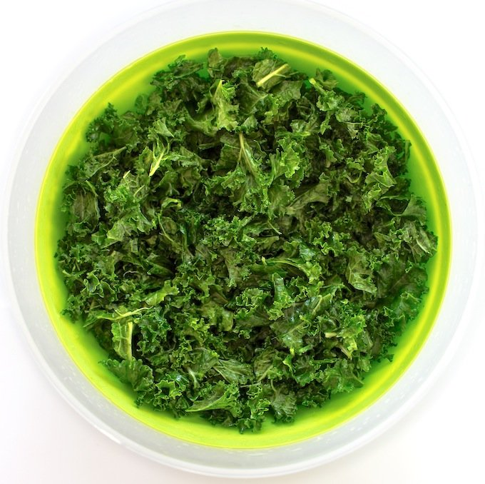 Fresh green kale in a bowl