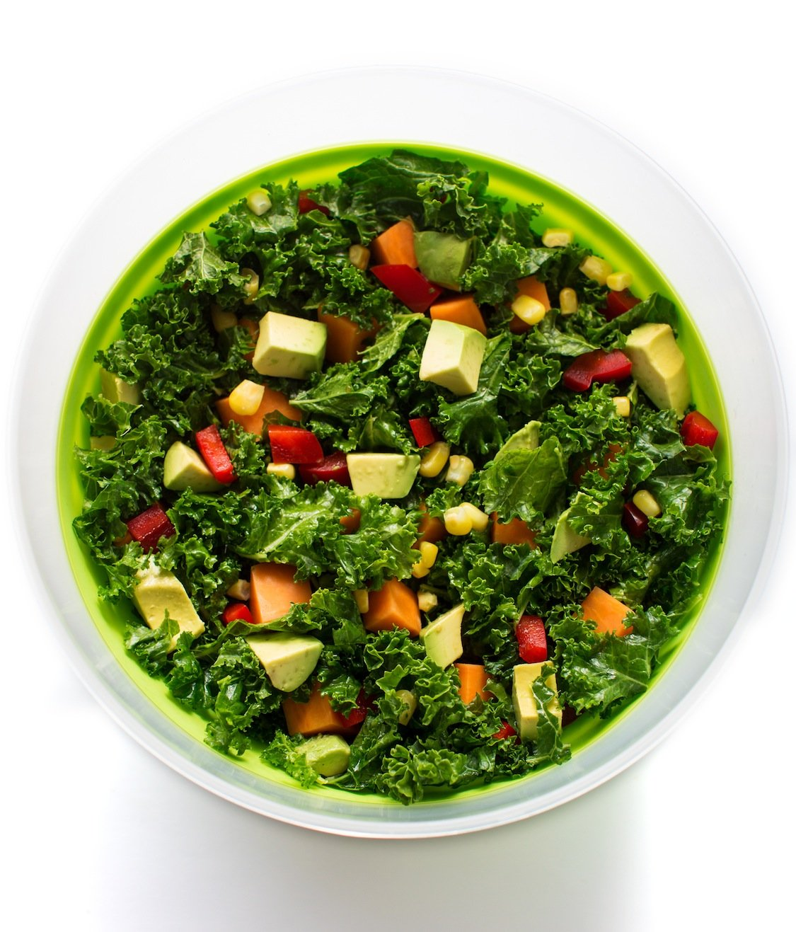 Massaged Kale salad with beans and avocado
