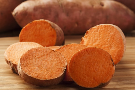 Sweet potatoes cut open