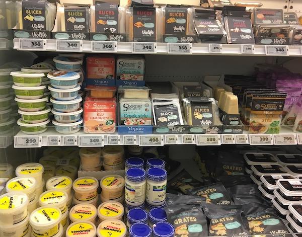 Vegan cheeses in Reykjavik supermarket