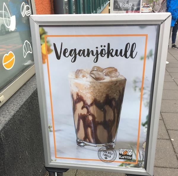 Vegan coffee drink in Reykjavik