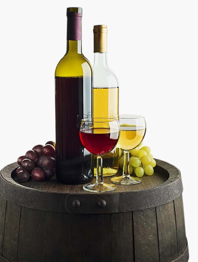 Red and white wine on a barrel