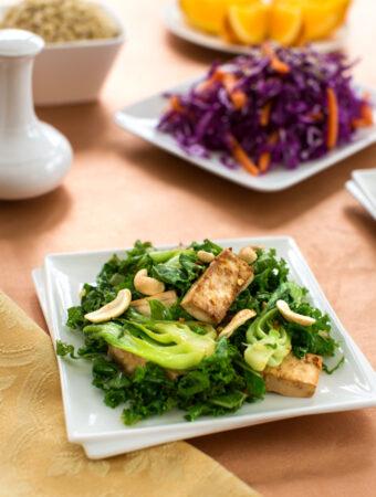 Stir-fried tofu and bok choy