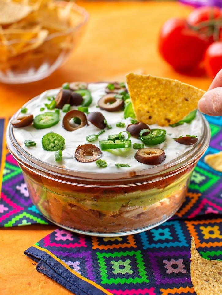 Vegan 7-layer bean dip
