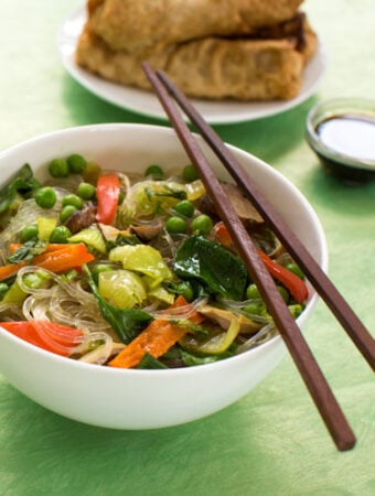 Asian Noodle Bowl with bean thread noodles and vegetables