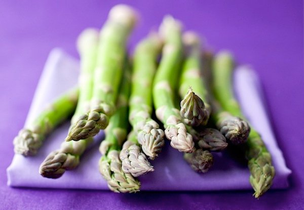 Asparagus on purple