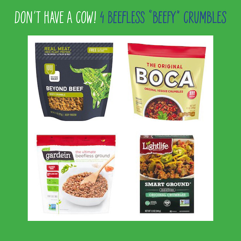 Plant-based crumbles ground beef substitutes
