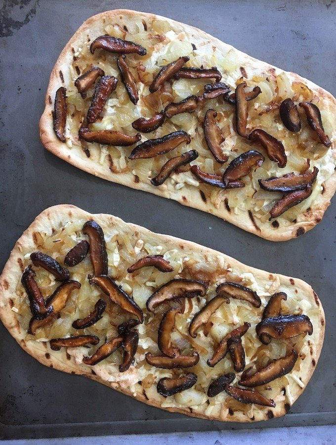 Vegan Caramelized Onion Pizza with Shiitake Bacon