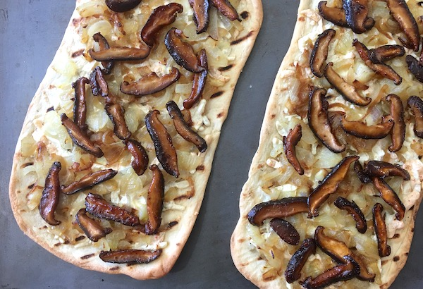Caramelized Onion Pizza with Shiitake Bacon