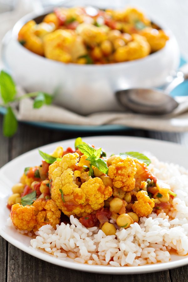 Vegan curried cauliflower and chickpea stew
