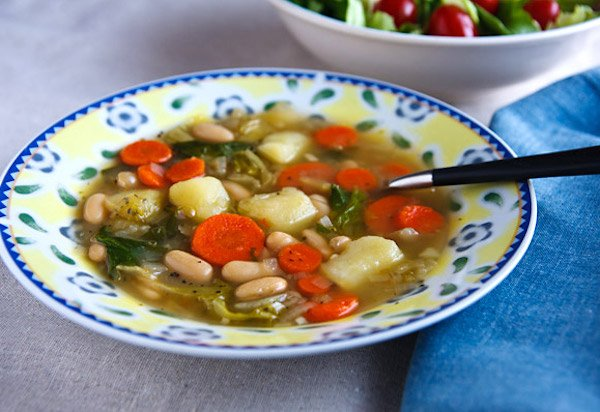 Escarole, Potato, and White Bean Soup