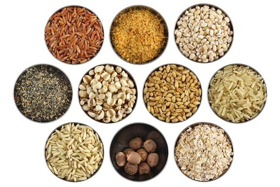 Assortment of grains, nuts, and seeds