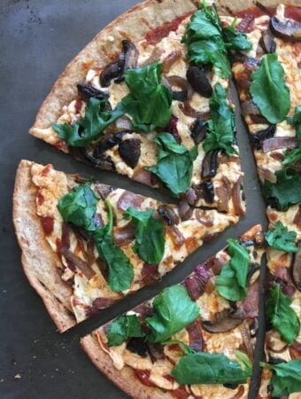 Kale, Red Onion, and Mushroom Pizza