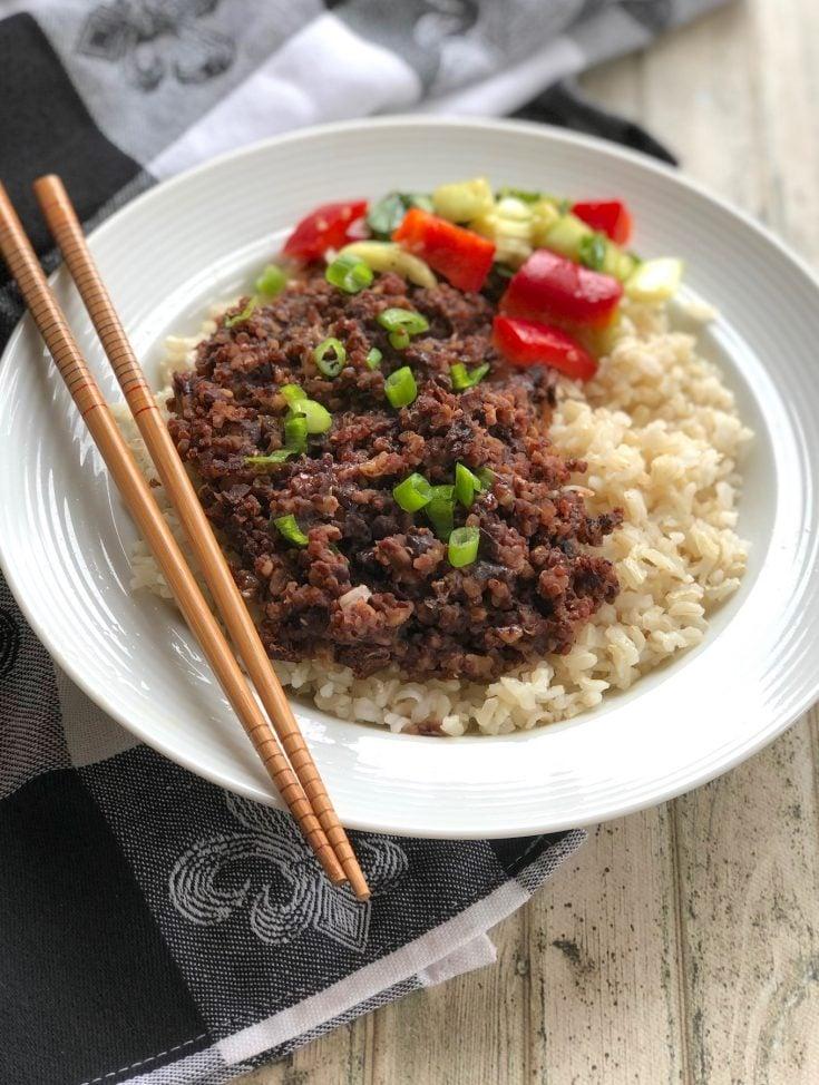 Vegan Korean beef-less bowl