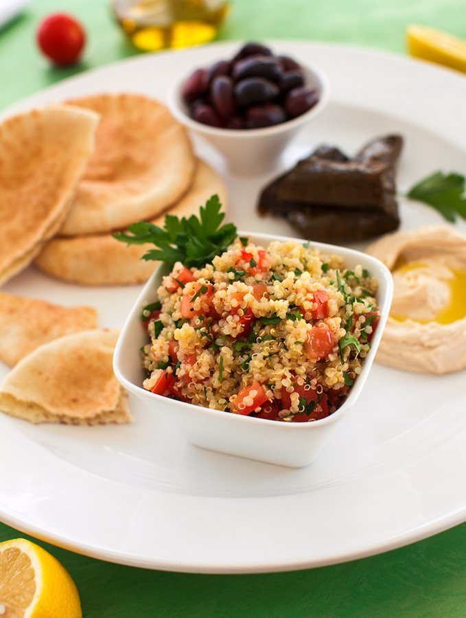 Quinoa Tabbouli and a Nearly Instant Mezze Platter