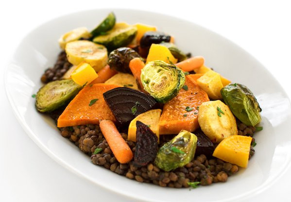 Roasted Root Vegetables Served on Lentils