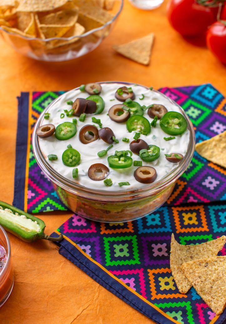 Vegan 7-layer bean dip appetizer