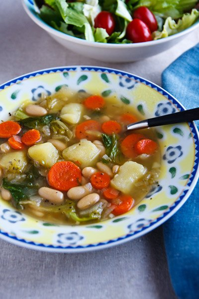 Escarole Soup with Potatoes and White Beans