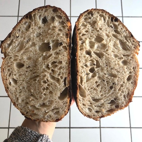 sourdough bread open