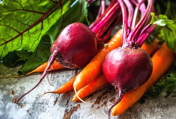 fresh beets and carrots