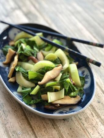 Braised bok choy and shiitake mushrooms1
