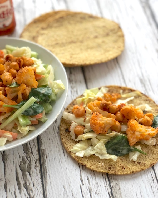 Buffalo Cauliflower Chickpea soft tacos