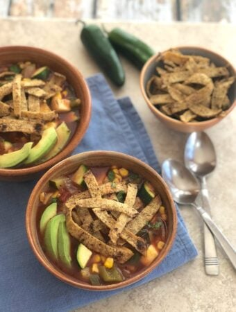 Tortilla Soup with Squash and Corn