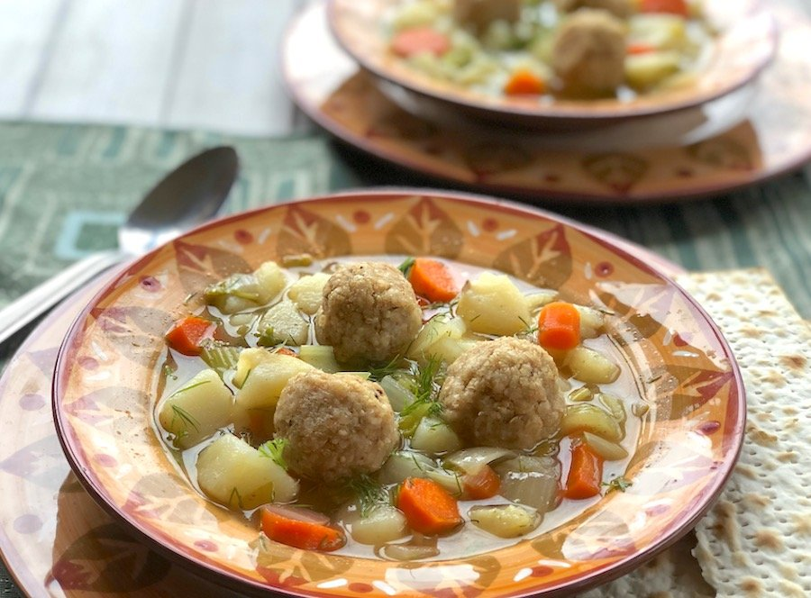 Spring vegetable vegan matzo ball soup