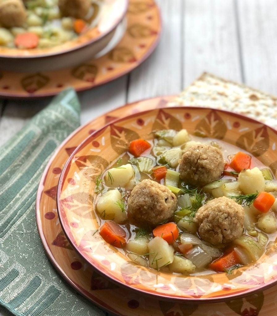 Vegan matzo balls recipe with spring vegetables