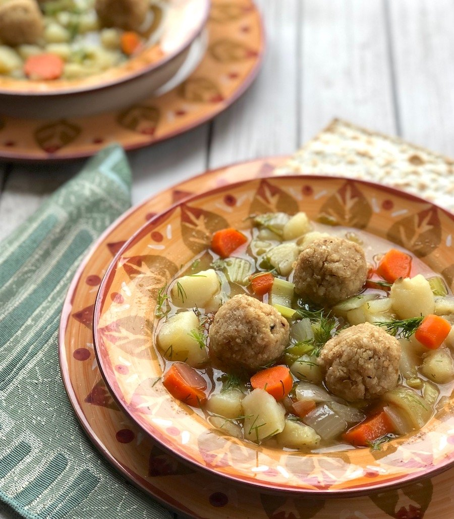 Vegan matzo balls recipe with spring vegetables