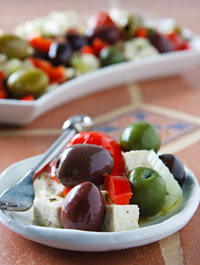 Olive Bar Medley with tofu feta recipe