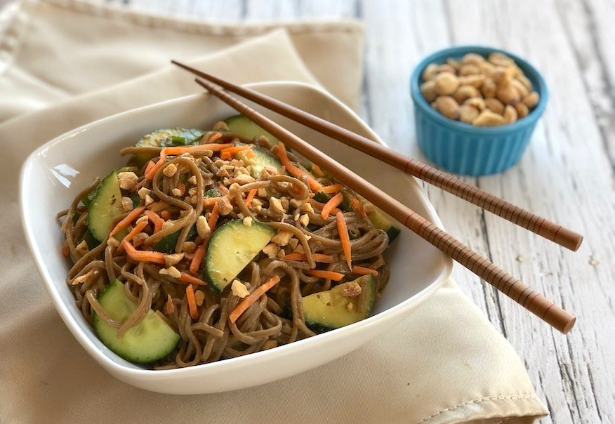 Peanut satay noodles with cucumber