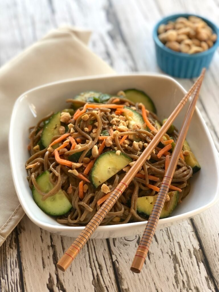 Peanut satay soba noodles with cucumber