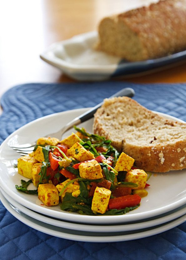Spinach or Arugula Tofu Scramble3