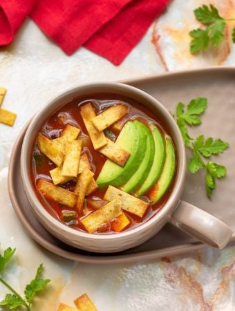 Tortilla soup with summer squash and corn1