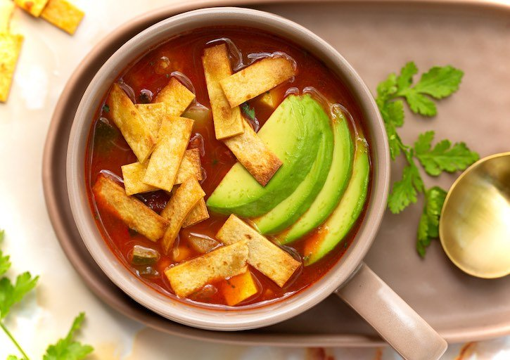 Vegan Tortilla soup with summer squash and corn