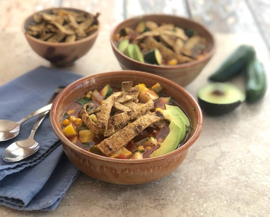 Vegan Tortilla soup with squash and corn