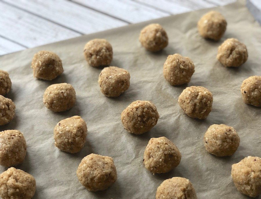 Vegan Matzo Balls made with quinoa flakes