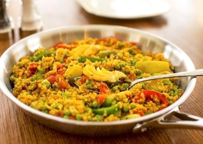 Quick Vegan Quinoa paella