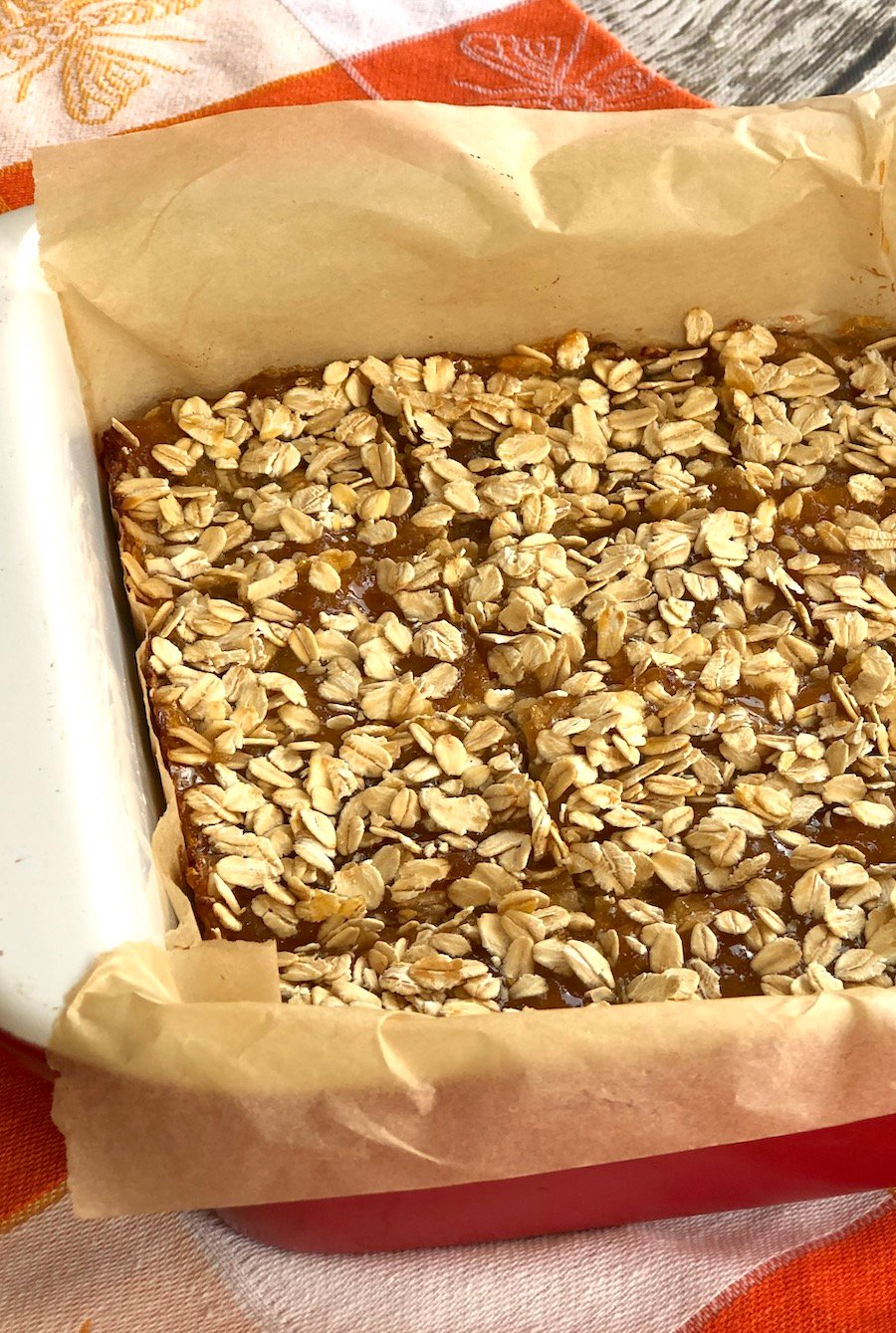 Vegan oat apricot bars