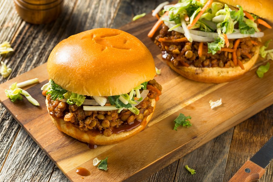 BBQ Lentil Sloppy Joes on a bun