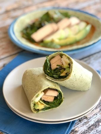 Baked tofu wraps with greens, apple, and avocado