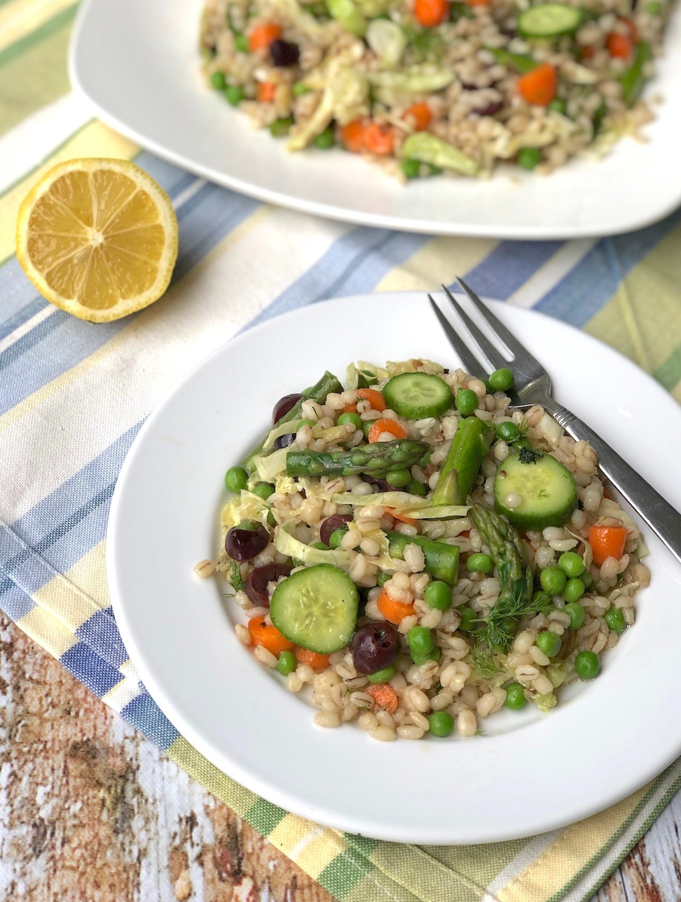Barley and asparagus salad