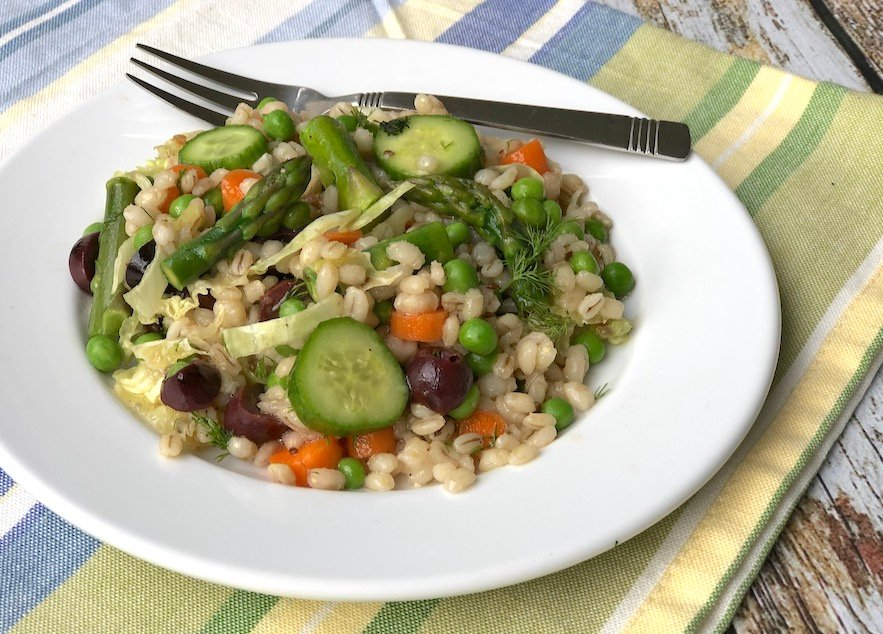 Spring Barley and asparagus salad