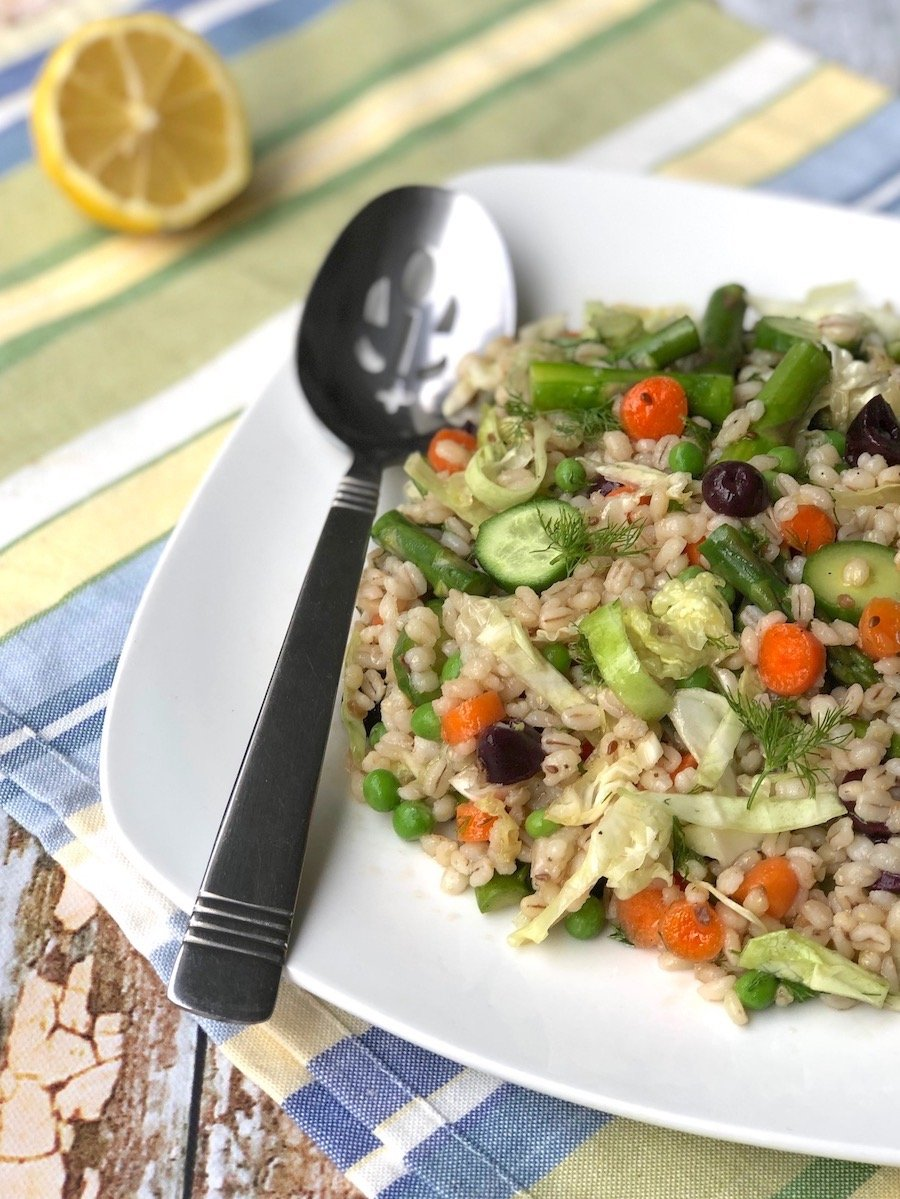 Barley salad with asparagus and spring vegetables