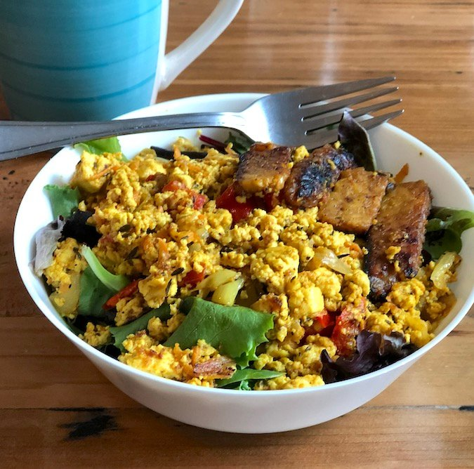 Breakfast tofu scramble bowl at consciousfork