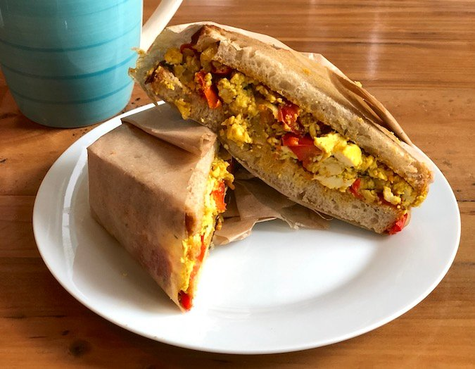Breakfast tofu scramble sandwich at consciousfork