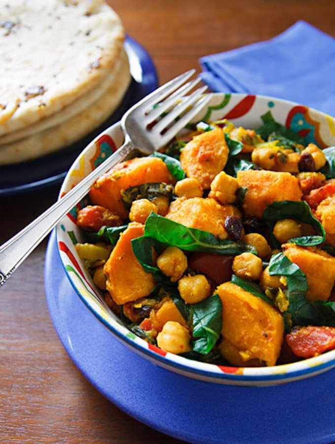 Curried Sweet Potatoes with Chard & Chickpeas